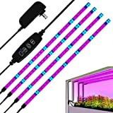 LED Grow Light, 4 Pcs 1.6 ft 24W Plant Growing Light Strips with 120 LEDs, 3 Switch Modes, 10 Dimmable Levels, Adhesive Red B