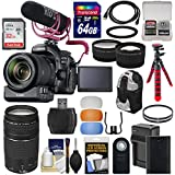 Canon EOS 80D Wi-Fi Digital SLR Camera & 18-135mm IS Video Creator Kit + 75-300mm III Lens + PZ-E1 Zoom Adapter + RODE Mic + 2 Cards + Battery + Tripod + Case Kit