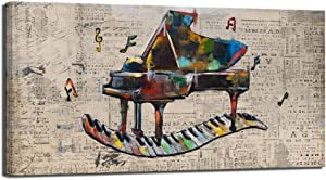 sechars Vintage Music Wall Art Retro Piano Painting Art Print on Canvas Abstract Artwork Music Notes Poster with Inner Wood Frame Modern Classroom Living Room Bedroom Decoration 24x48inches