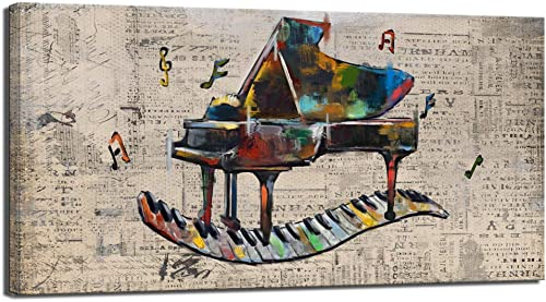 sechars Vintage Music Wall Art Retro Piano Painting Art Print on Canvas Abstract Artwork Music Notes Poster