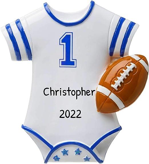 2020 Christmas Football Amazon.com: Personalized Blue Football Jersey Baby Christmas Tree