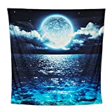 ACRAFT Wall Tapestry Moon Ocean Stars for Bedroom Wall Hanging Blue Queen Teal Turquoise Decor Ocean Sea Tapestries for Yoga Beach Picnic Blanket(Shining Clean)