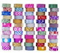 60 Rolls Glitter Washi Tape Set, Washi Masking Decorative Tapes for DIY Decor Planners Scrapbooking Adhesive School/Party Supplies by Ninico