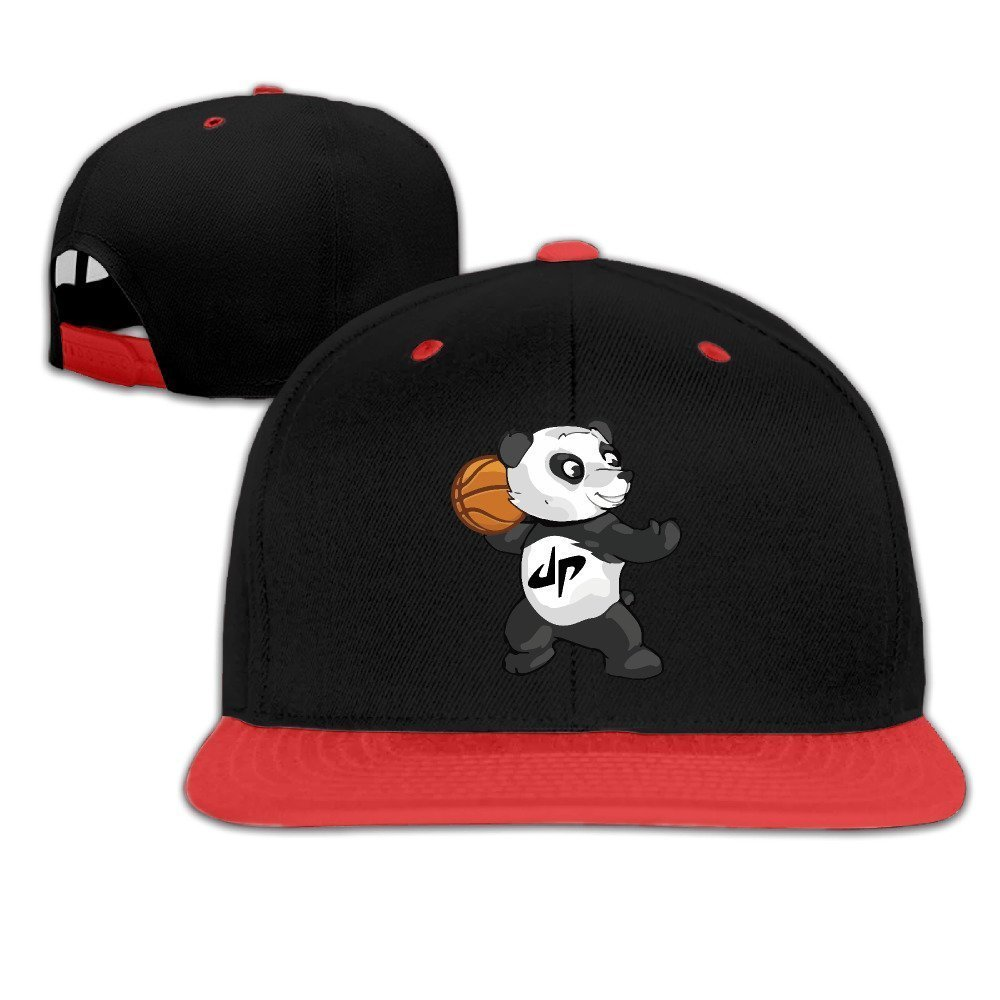 KId Cool Dude Perfect Panda Basketball Contrast Color Flat Brim Hat Red