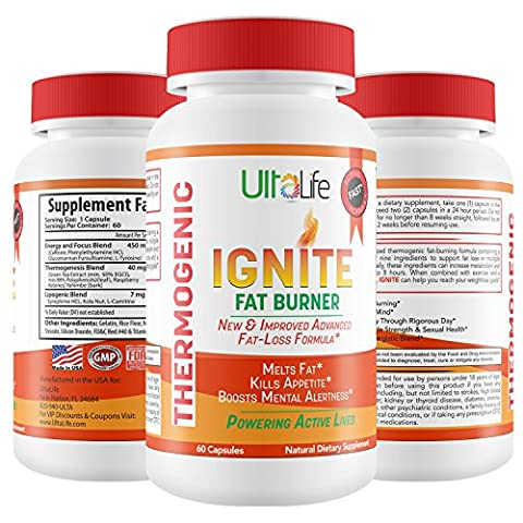 Ignite's 60 Day Fat Burning Weight Loss Diet Pills for Men & Women - Fast Working Thermogenic Fat Burners + Energy & Focus Blend,60 (Pills Fast)
