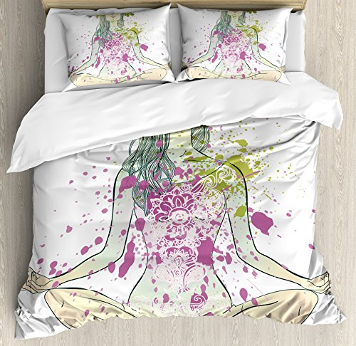 Price comparison product image Yoga Duvet Cover Set King Size by Ambesonne,  Girl with Floral Wreath Sitting in Lotus Pose Color Splashes Levitation Meditation,  Decorative 3 Piece Bedding Set with 2 Pillow Shams,  Multicolor