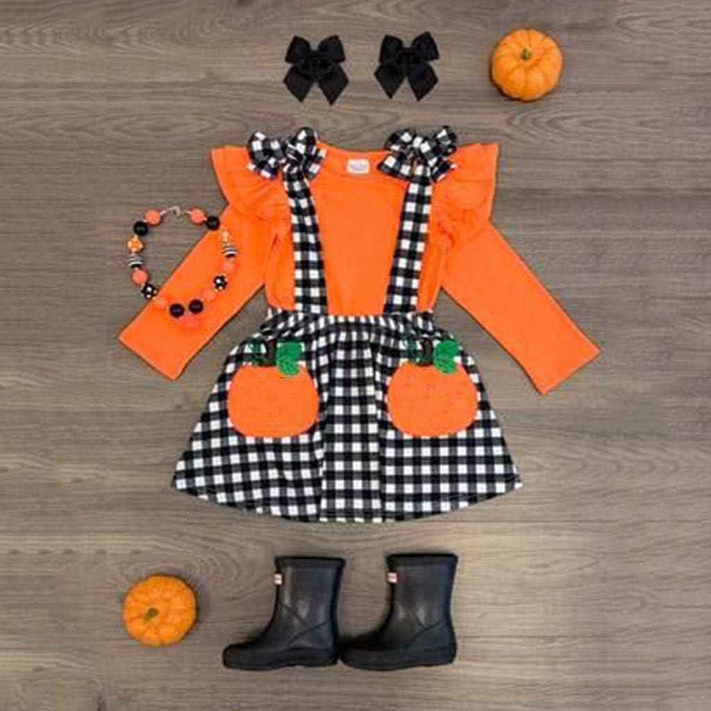Halloween einfarbiges T-Shirt Rock mit K/ürbismuster Stirnband 1-5 Jahre M/ädchen 3Pcs Kleidung Baby Kleidung Baby M/ädchen Halloween deko M/ädchen Kleider