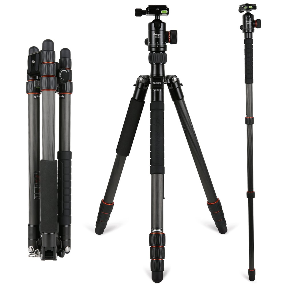 Camera Tripod,Fotopro X-5CN Carbon Fiber Compact and Lightweight Tripod 58.58 Inch with Ball Head Quick Release Plate DSLR Tripod for Camera Nikon/Sony/Pentax/Canon Compact Tripod, Black by Fotopro
