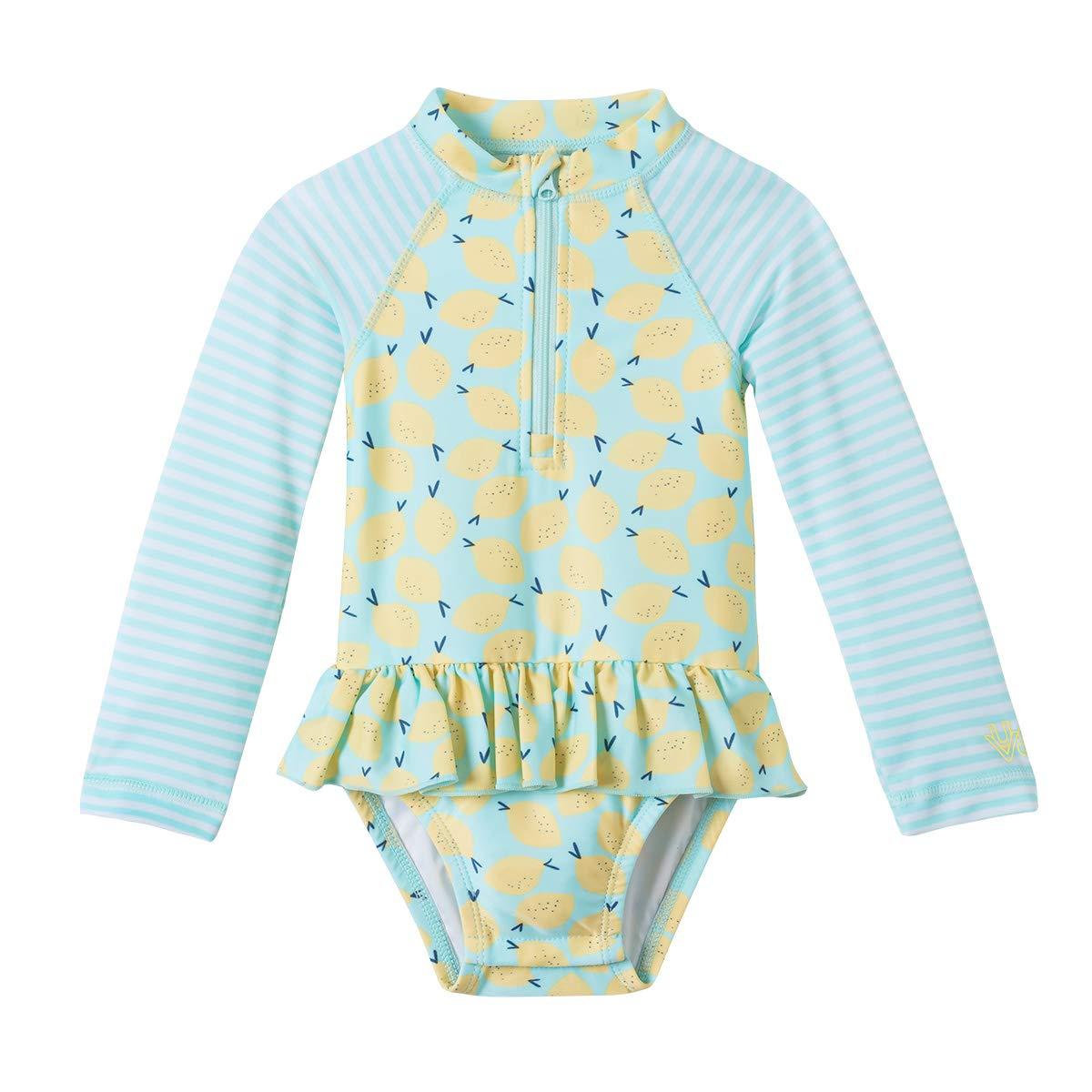 UV SKINZ UPF 50+ Baby Girls LS Ruffled Swim Suit - Beach Glass Lemon - 3/6m by UV SKINZ