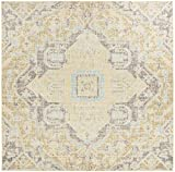 Safavieh WDS329E-6SQ Windsor Collection Premium Wool Area Rug, 6′ Square, Light Grey/Lime Review