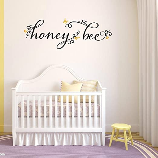 Amazon Com Rabbitsticker Honey Bee Vinyl Wall Decals Quotes Sayings Words Art Deco Lettering Inspiration Kitchen Dining