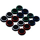 LONG7INES 16Pcs Wireless Controllers Silicone Thumb Grip Stick Cover, Game Remote Joystick Cap for PS4 Dualshock 4/ PS3 Dualshock 3/ PS2 Dualshock/Xbox One/Xbox 360, Black/Blue, Red, White, Green