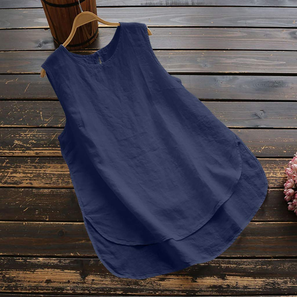 Darringls Blusa y Camisa Mujer,Camisetas Color s/ólido Blusa Talla Grande Algod/ón de Lino Chaleco Casual Sin Manga Armada, 3XL