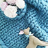 Knitting Blanket by Australia Merino 100% Pure Wool for Home Pet Bed Chair Sofa Yoga Mat Rug WAWEN Sky blue 8080