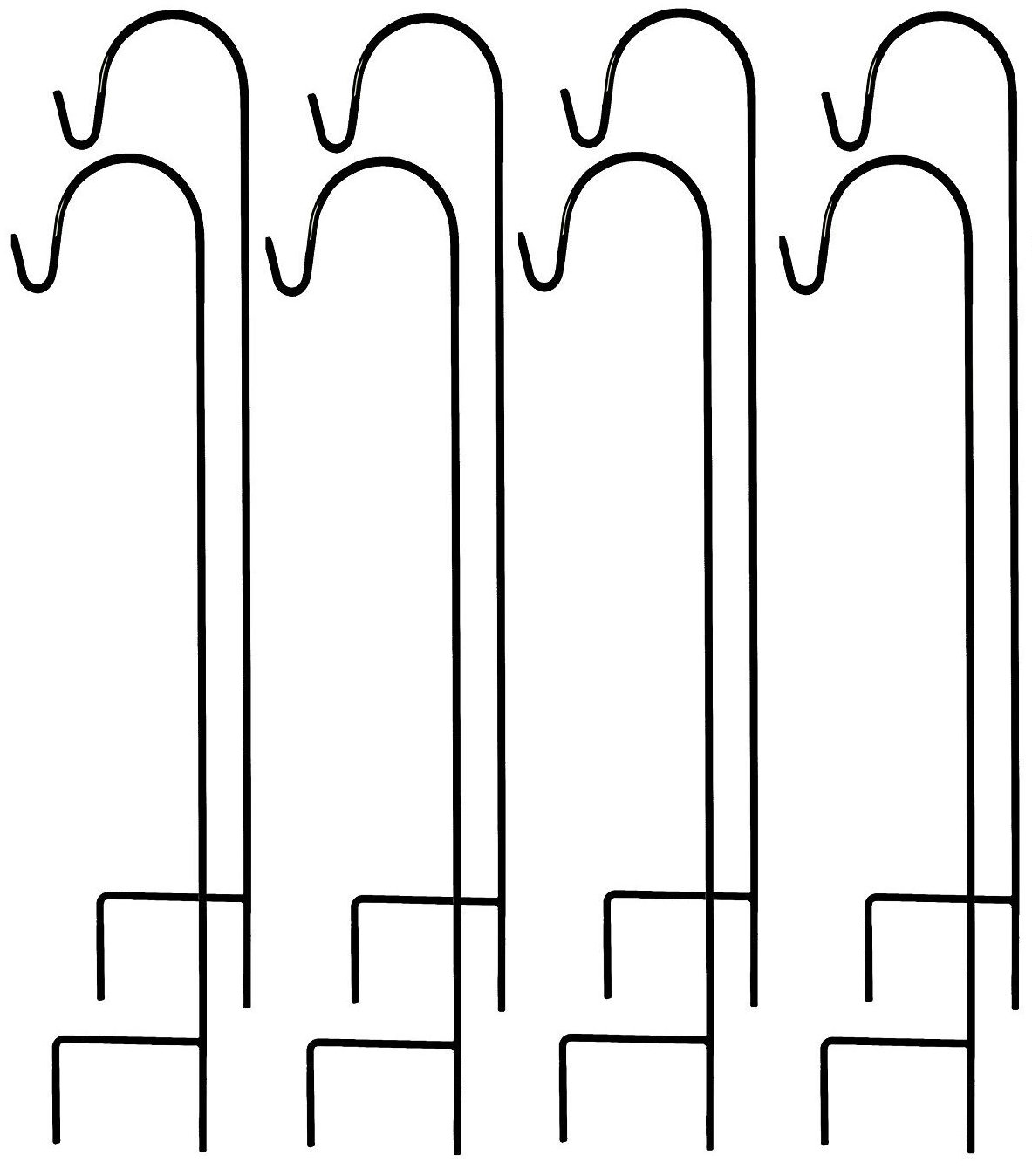 Ashman Shepherd's Hooks Set of 8 and 35 Inches long made of Premium Metal for Hanging Solar Lights, Mason Jars, Plant Hangers, Christmas Lights, Lanterns, Garden Stakes and Wedding Decor
