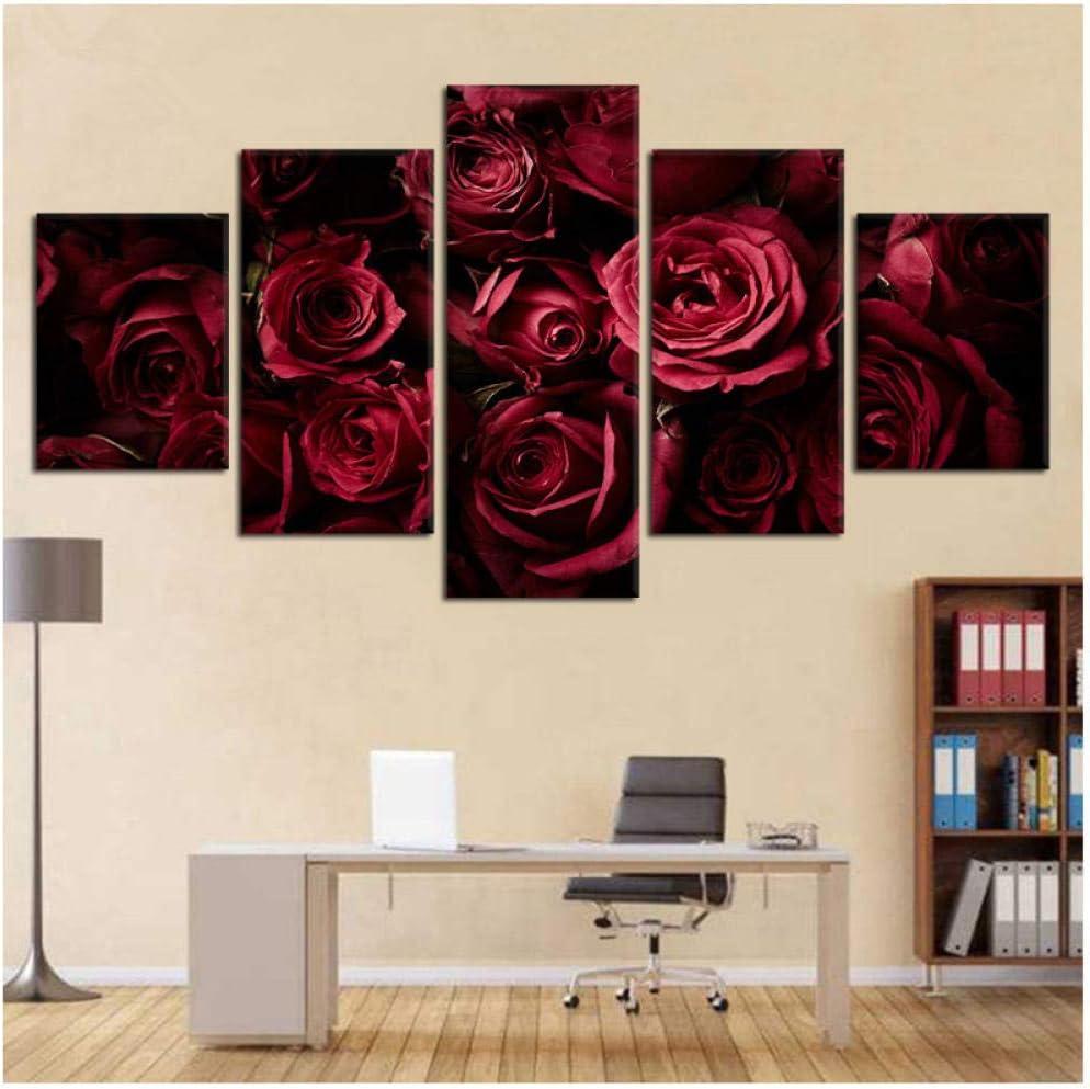 Cartel moderno del arte de la pared Impresiones en HD Imágenes Decoración del hogar 5 piezas Flores rosas rojas Fondo oscuro Lienzo Pintura-30x50 30x70 30x80cm Sin marco