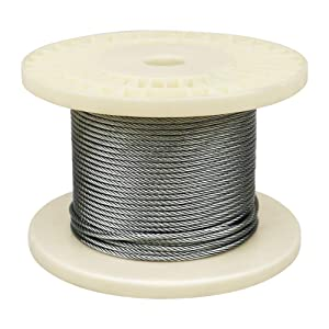 """IZOKIN 1/8"""" 316 Stainless Steel Wire Rope Aircraft Cable for Deck Cable Railing Kit DIY Balustrade Handrail Cable,7x7 150ft"""