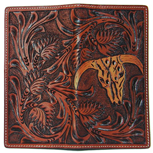 Brown Texas Mason New Custom Wallet Cow Skull Long Company Long Checkbook Tan Badge Belt and 3D zCqqWw4B