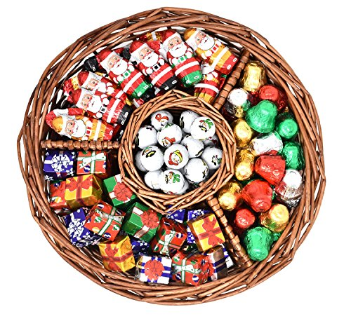 Christmas Gift Basket with Madelaine Milk Chocolate Christmas Bells, Mini Santas, Christmas snowballs and Mini Christmas presents - Assorted Premium Christmas Madelaine Chocolates, 1.5 Lbs