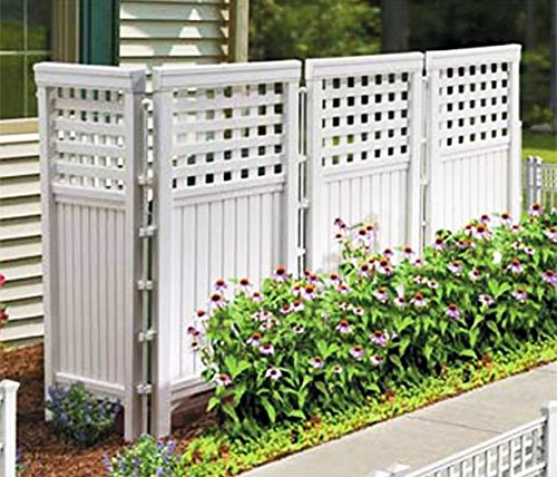 Made in usa white uv resistant 4 panel resin outdoor for Buy outdoor privacy screen