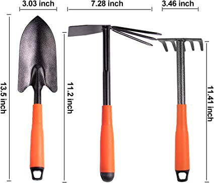 planting including digging aerating weeding and more 5-Teeth rake And Garden Gloves .Ideal for a variety of tasks Garden Tools Set,4 Piece Garden kit Includes Trowel,Dual hoe loosening soil