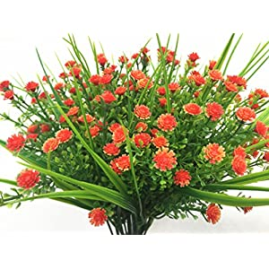 CATTREE Artificial Plants, 4pcs Faux Baby's Breath Fake Small Flowers Gypsophila Shrubs Simulation Greenery Bushes Wedding Centerpieces Table Floral Arrangement Bouquet Filler - Orange 3