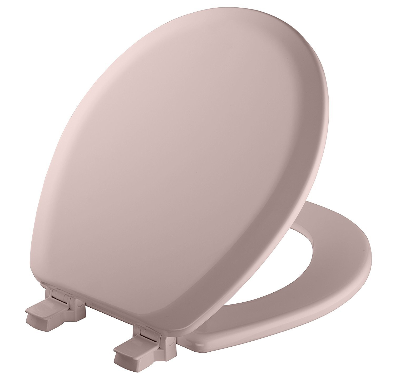 Mayfair Molded Wood Toilet Seat with Easy Clean & Change Hinges and STA-TITE Seat Fastening System, Round, Pink, 41EC 023