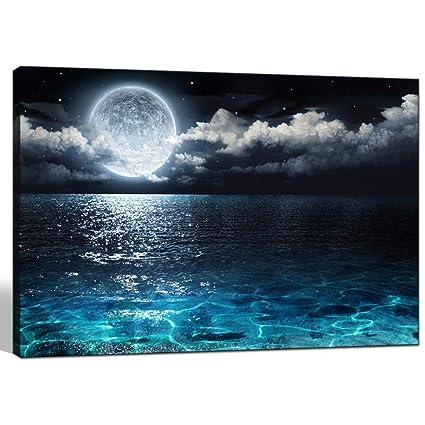 amazon com sea charm modern canvas wall art large full moon in