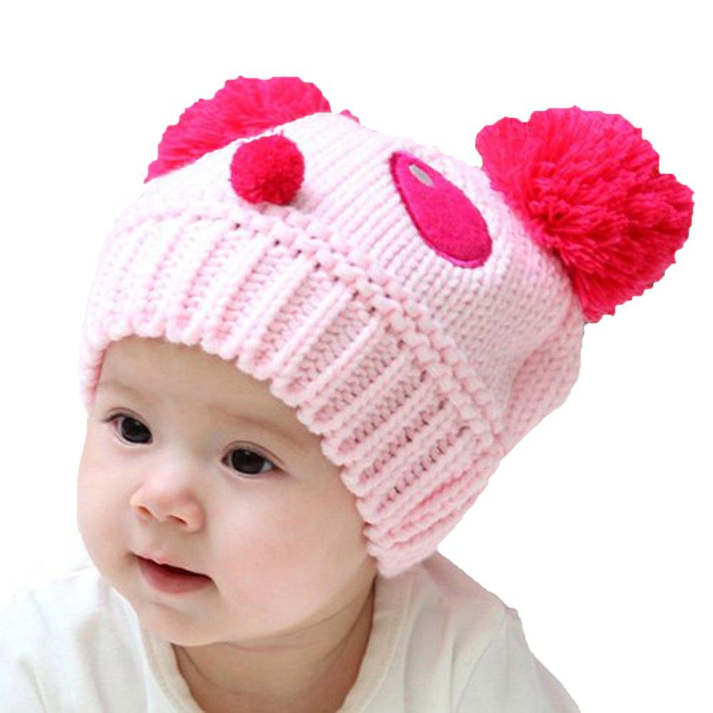 Fablcrew Chapeau Bébé mignon en forme de panda en laine Crochet Beanie Chapeau pour enfants filles garçons beige beige 40-52cm