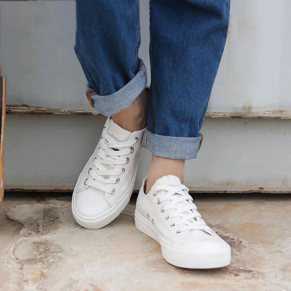 WFL Zapatos de Lona de los Hombres de los Hombres Ocasionales Zapatos de Fondo Plano Deportes par Pintado a Mano Pequeños Zapatos Blancos Hombres,Blanco,39: ...