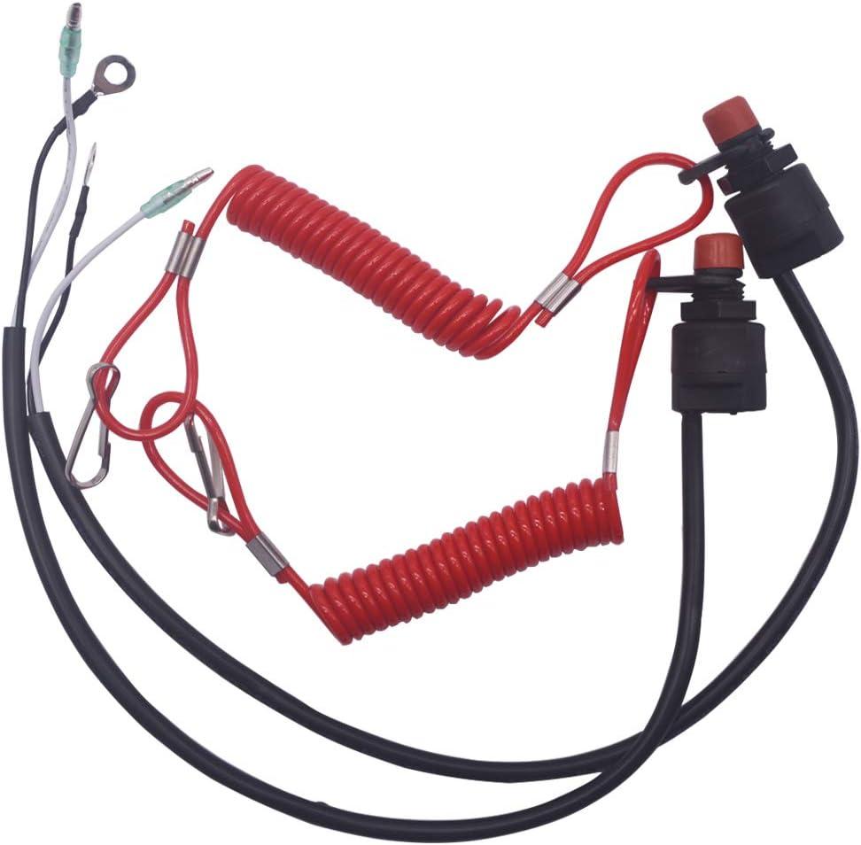 AIB2C 2 Packs Engine Stop Switch Assembly Emergency Cut-Off Switch /& Lanyard 6E9-82575-00-00 6E9-82575-02-00 for Yamaha Outboard Motor Engine 15HP 25HP 30HP 40HPor Yamaha Outboard Motor Engine
