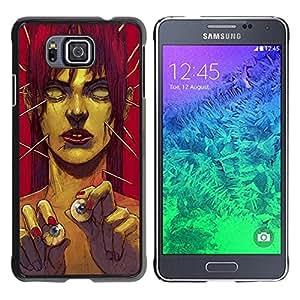 Caucho caso de Shell duro de la cubierta de accesorios de protección BY RAYDREAMMM - Samsung GALAXY ALPHA G850 - Zombie Art Eye Balls Green Monster Redhead