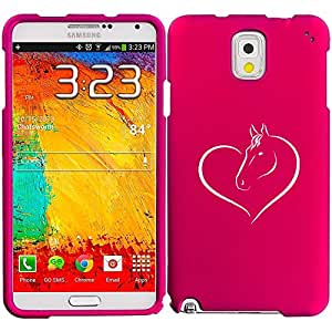 Samsung Galaxy Note 4 Snap On 2 Piece Rubber Hard Case Cover Heart Horse (Hot Pink)