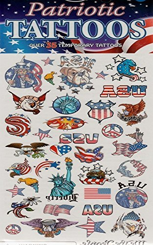 Patriotic Tattoos Over 35 Temporary Tattoos - Party Supplies (3 Packs) by Savvi