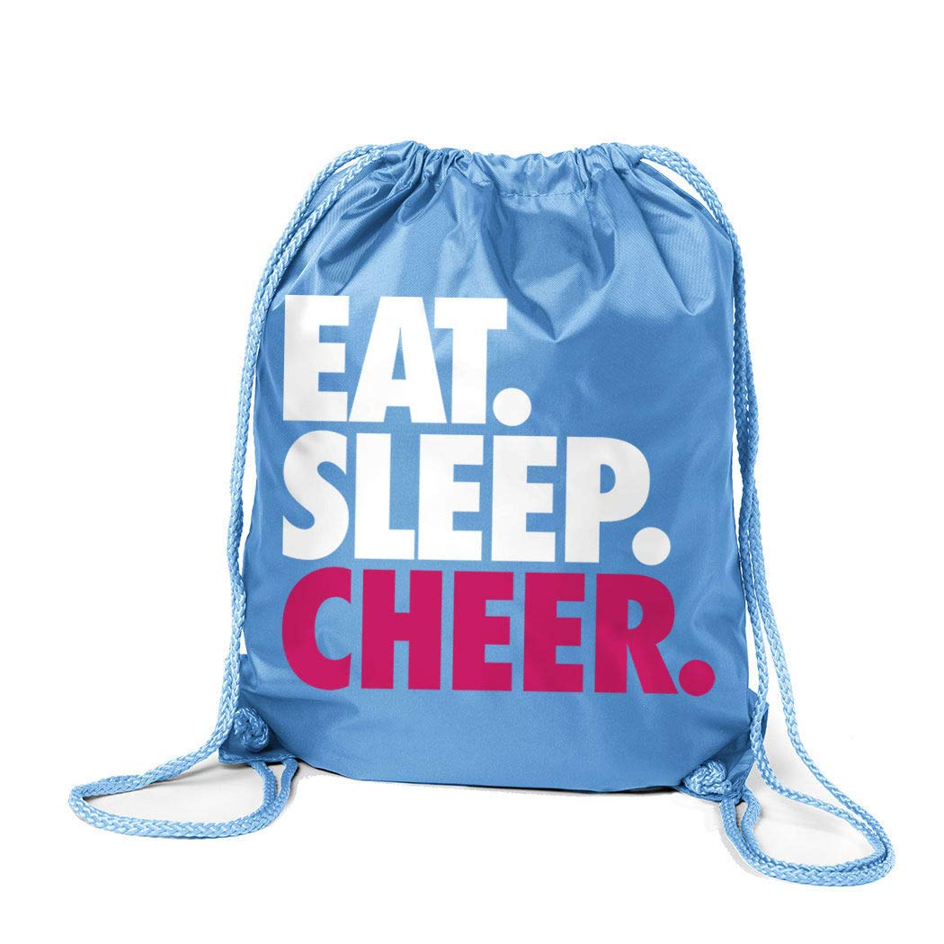 16d9cadca7d5 Cheerleading Sport Pack Cinch Sack   Eat Sleep Cheer   Light Blue