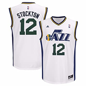 size 40 f330a 74b86 adidas John Stockton Utah Jazz NBA Men's White Replica Jersey
