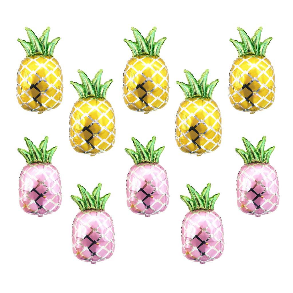 SM SunniMix Pieces 10個の大きなパイナップルホイルバルーン 結婚式 誕生日パーティー 装飾 ゴールド+ピンク   B07GBS1B2C
