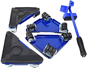 Heavy Duty Furniture Lifter with Triangle Moving Sliders Mover Tool Set Moving Appliance Roller Load for 660lb(300kg) 5 Packs (Blue)