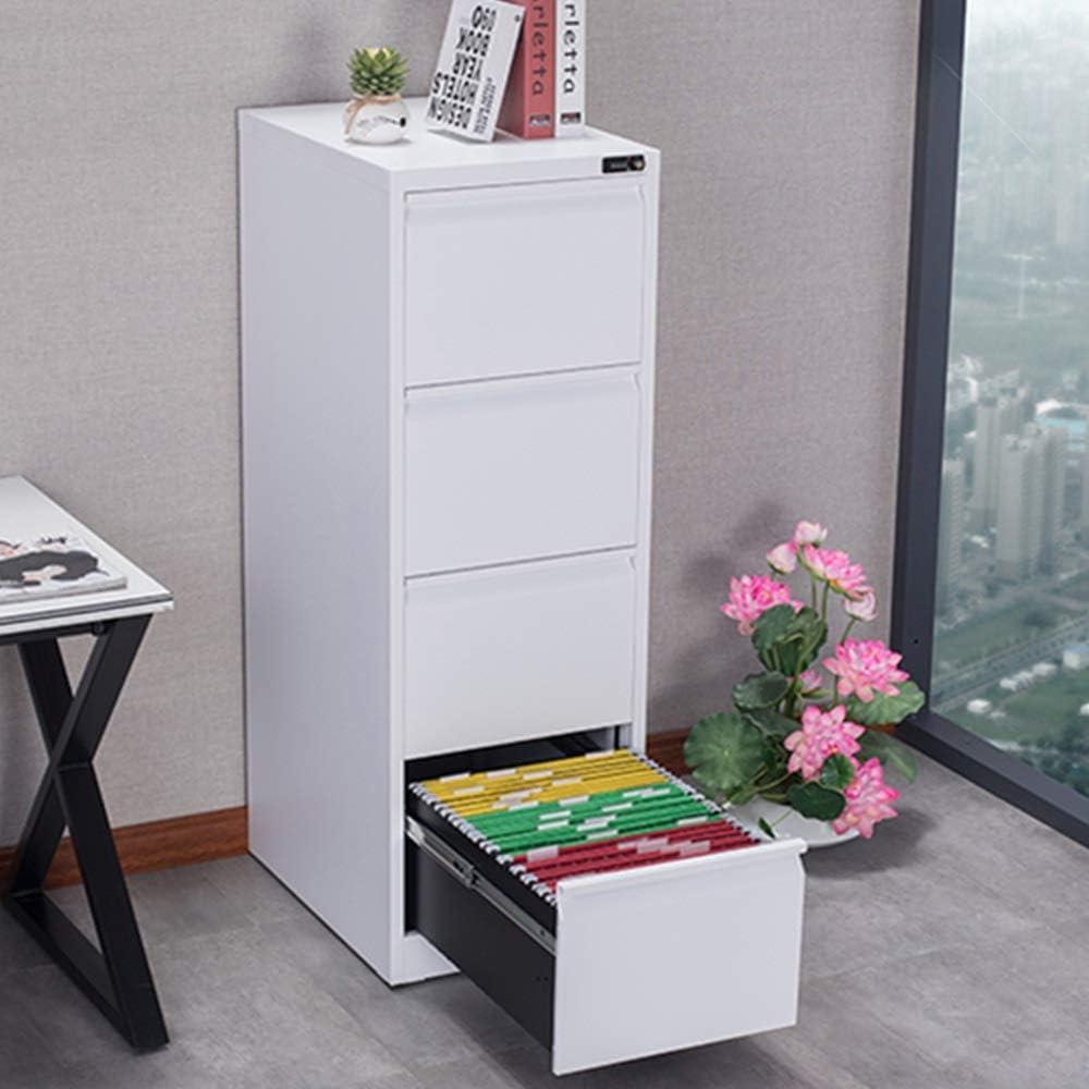 ファイルキャビネット 4引き出し垂直ファイルキャビネットマルチ引き出しアセンブルするために内閣商業の必要性 机のお供に最適 (Color : White, Size : 46x62x133cm)