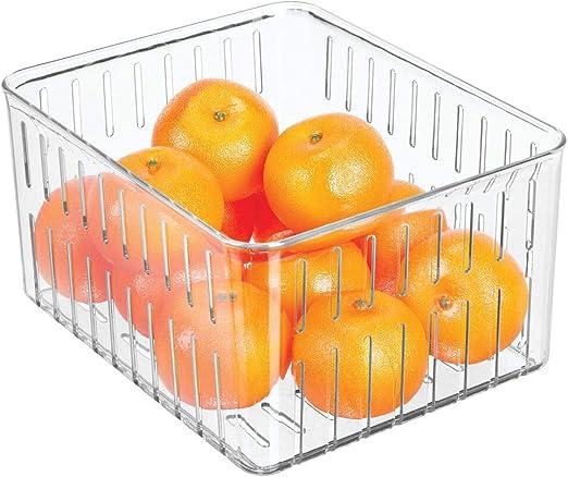 mDesign Organizador de nevera Pr/áctico organizador de despensa sin tapa transparente Cajas pl/ásticas organizadoras para alimentos con ranuras laterales de ventilaci/ón