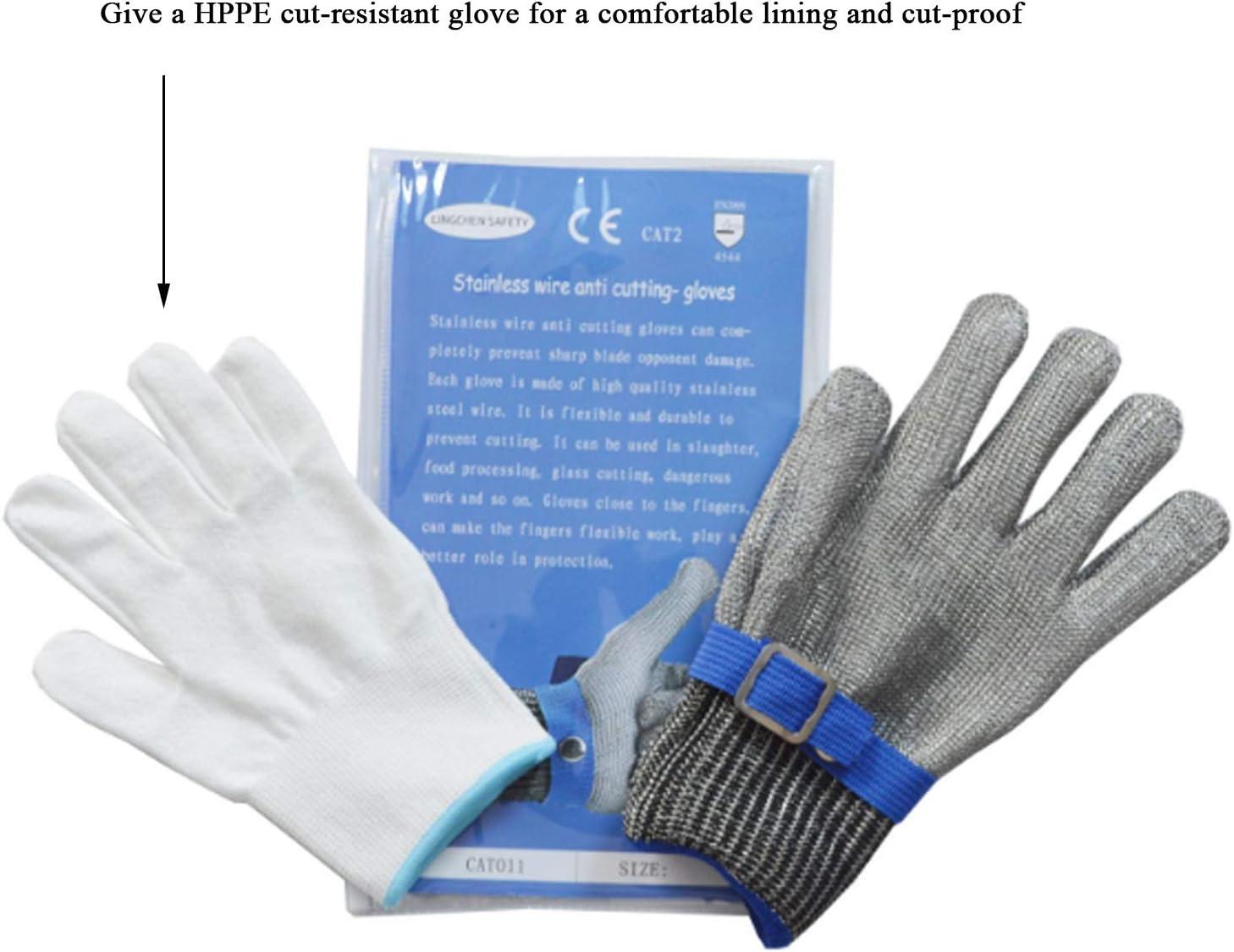 21.5cm JiaCH Gants de courrier de cha/îne r/ésistants /à la Coupure de Maille dacier Inoxydable bross/é pour Le Gant de s/écurit/é de Travail de Boucher de Cuisine 1pcs Color : Blue, Size : XS