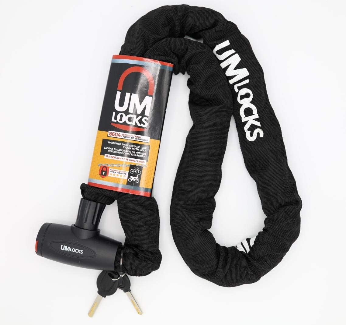 Great for Bicycle Sports Equipments 5 Ft Extra Long Chain Lock 10mm Heavy Duty Anti-Theft Bicycle Lock Bike Chain Lock with 2 Keys UM Bike Lock Motobike Gate