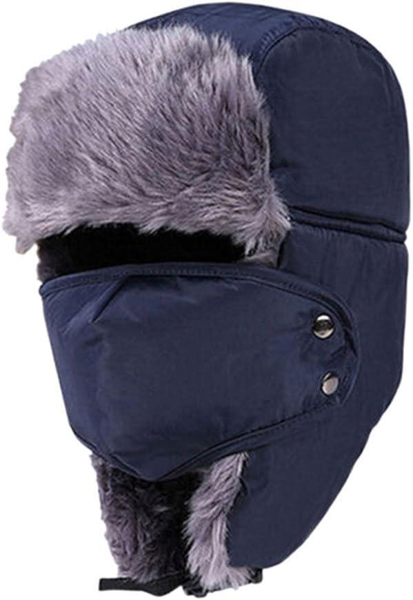 Rosenice - Gorro de esquí Ushanka, con orejeras y máscara, estilo aviador, color negro Come mostrato M