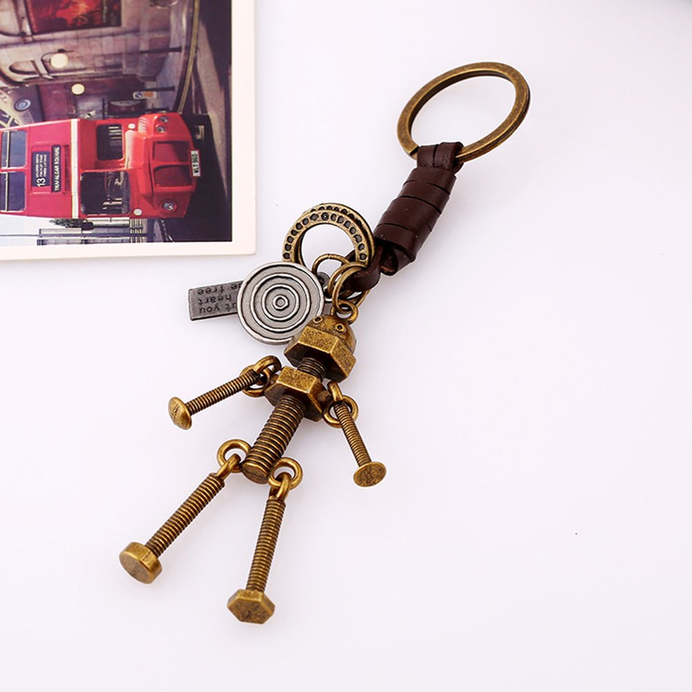 Gotoole Men Punk Style Keychain Bike Robot Deer Pendant Cow Leather Retro Bag Charm size Robot by Gotoole (Image #3)