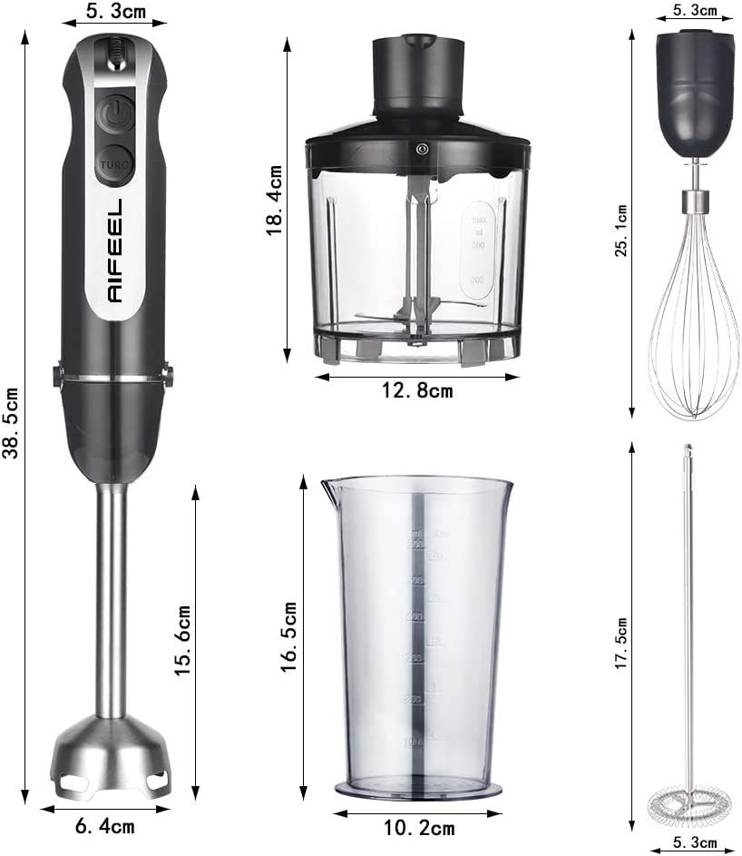 AIFEEL Hand Blender 800W, Turbo Button/Low Noise, 3 in 1 Stick Blender with 500ML Food Chopper/600ML Measuring Cup/Egg Whisk,Stainless Steel Blender Blades Type-2