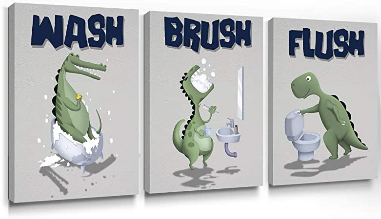Amazon Com Geeignet Dinosaur Wall Art Kids Bathroom Decor Funny Quotes Canvas Paintings Animal Prints Gifts For Kids Wash Brush Flush Bathroom Art 12x16 Inch 3 Panels Posters Prints