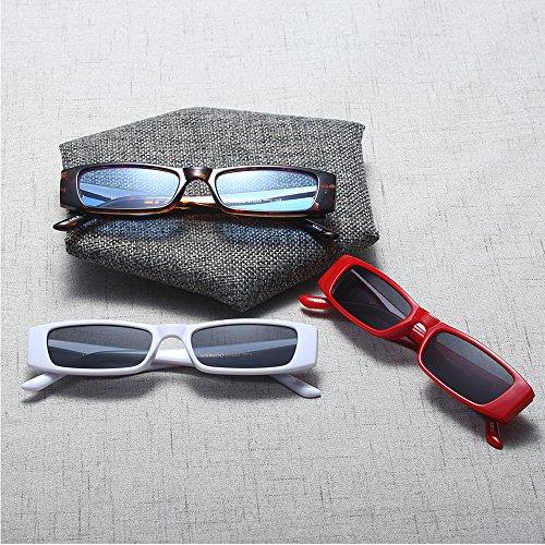 rectangulares Vintage Lente de Rojo coloreadas delgado Extremo de sol pequeña sol Gafas Gafas xFqxaw6