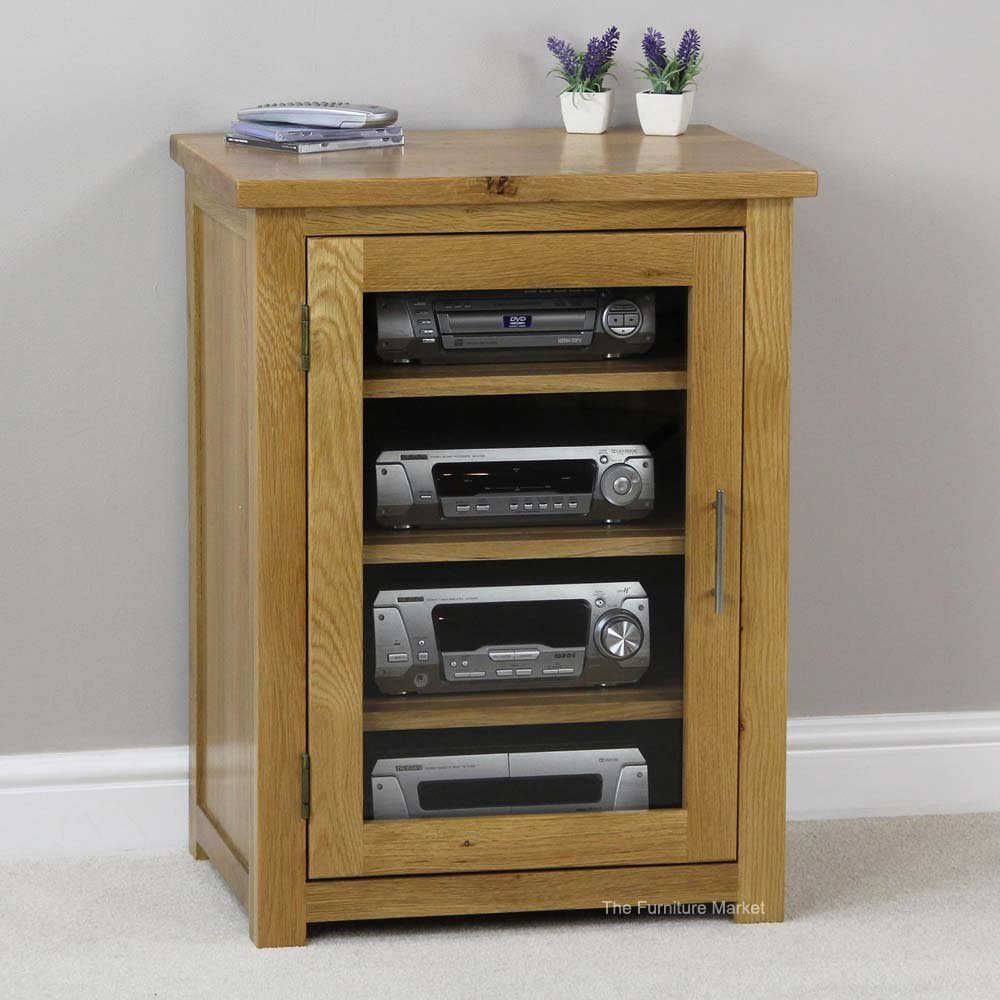 The Furniture Market London Solid Oak Hifi Media Unit Storage Cabinet