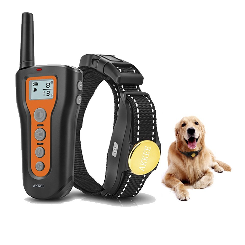 AKKEE Dog Training Collar Rechargeable & Waterproof Electric Dog Shock Collars Remote 1000ft Range Beep Vibration Shock Training Mode, Pet Trainer E-Collars Small Medium Large Dogs