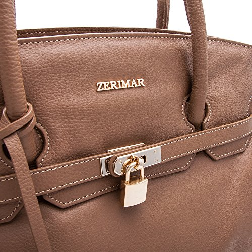 Taupe Handbags Shopper 38x30x10 Colour Blue Large nut For Leather Size Zerimar Handbag Women FOPZP4